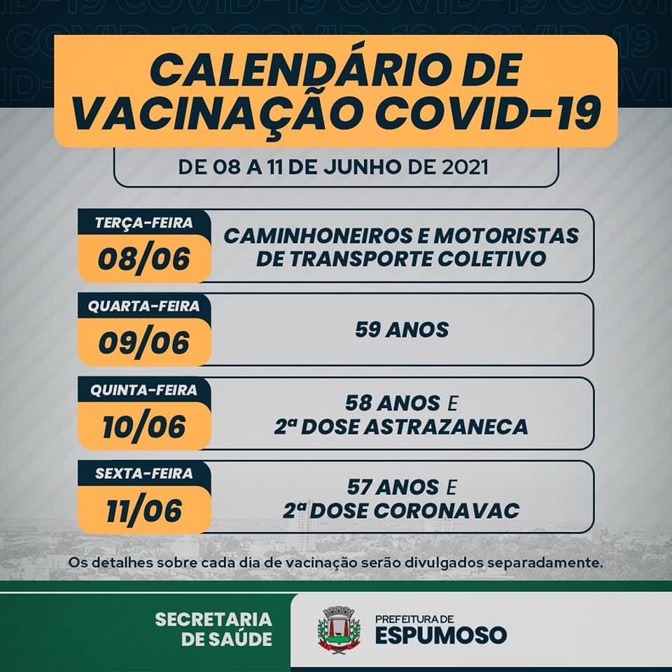Cronograma de Vacinação semanal - Arte Jorge Fernando Freitas